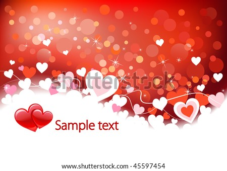 Valentines background with hearts, place for text - stock vector