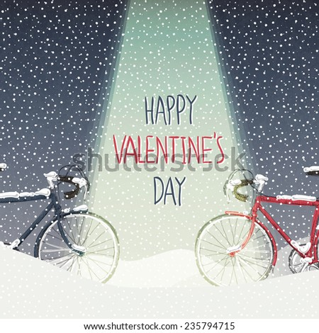 Valentines Card. Snow Covered Bicycles, Calm Winter Scene - stock vector