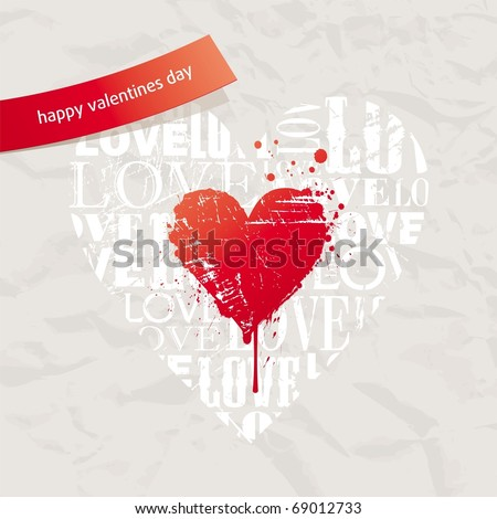 Valentines card with grunge hearts on vintage paper - stock vector