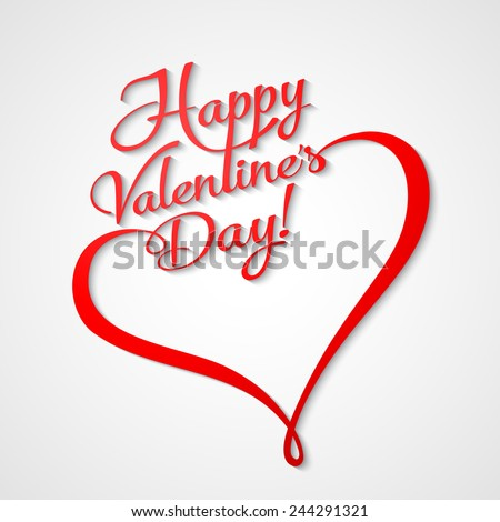 Valentines Card with  lettering. Happy Valentine's Day and heart