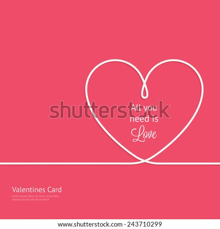 Valentines card with line heart and all you need is love phrase - stock vector