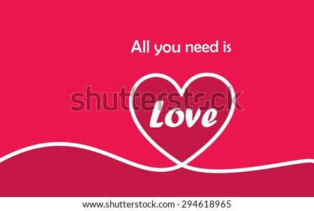 Valentines card with line heart.Eps 10 vector file. - stock vector