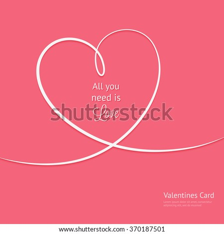 Valentines card with line hearts and all you need is love phrase - stock vector
