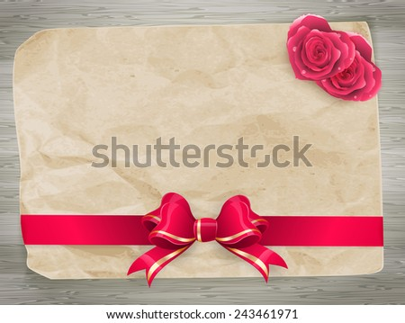 Valentines card with red bow and couple of hearts on wood background. EPS 10 vector file included - stock vector