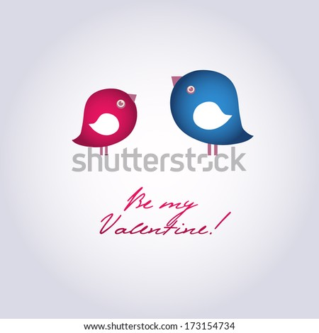 Valentines card with two cute birds