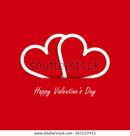 Valentines card with two outline hearts. Valentine's day minimal abstract background. Vector illustration. Eps10. - stock vector