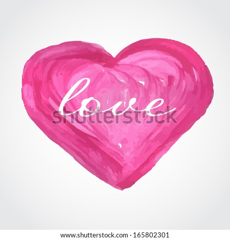 Valentines card with watercolor painted pink heart. Vector format for your design - stock vector
