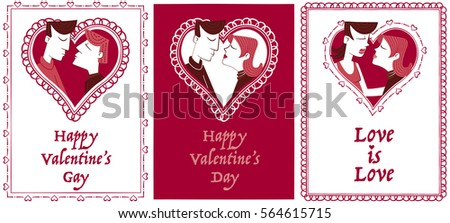 valentines cards same sex couples three retro style valentine cards for couples with