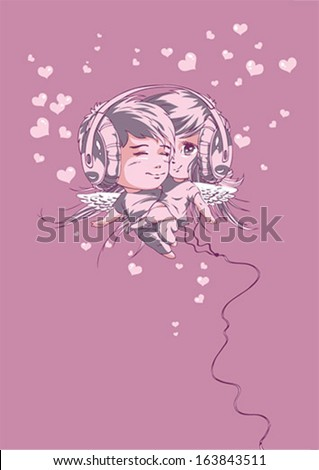 Valentines day - a pair in headphones - stock vector