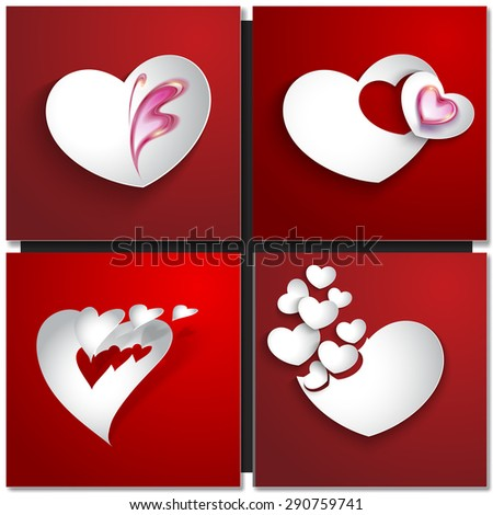 Valentines day abstract background with cut paper heart. Vector illustration - stock vector