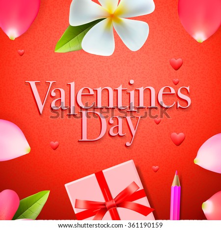 Valentines day background, holidays gift and heart, vector illustration.