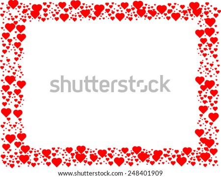 Valentines Day Background . Red Hearts Border Frame With Space For Your  Text .