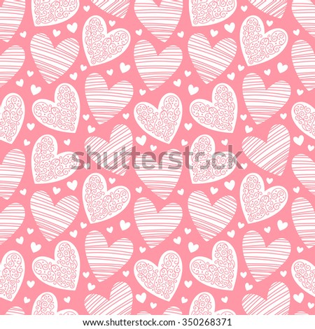 Valentines day background. Seamless pattern made of ornamental hearts of various size. Hearts pattern with lacy ornamentation and hatching.