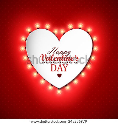 Valentines day background with bright lights - stock vector