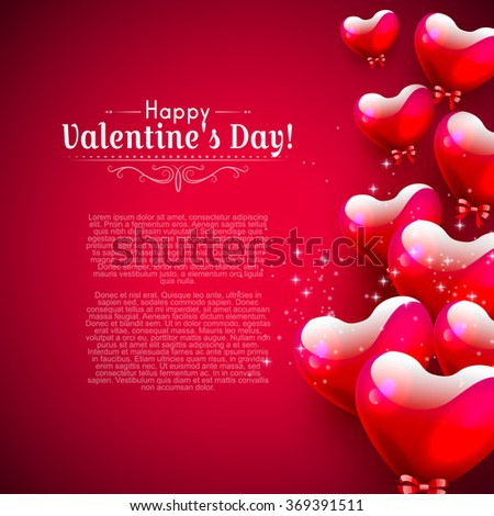 Valentines day background with glossy hearts on red background