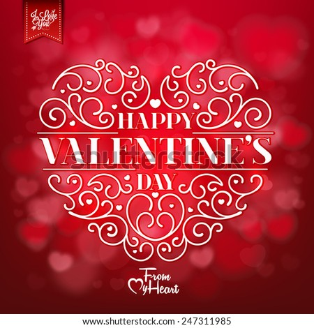 Valentines Day Background With Hand Drawn Heart - stock vector