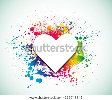 Valentines Day background with heart on ink rainbow. Vector illustration - stock vector