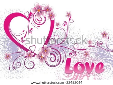 Valentines Day background with Hearts, flowers and pattern - stock vector