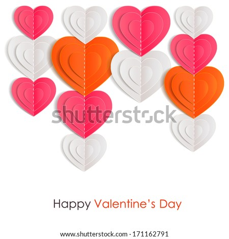 Valentines day background with paper hearts isolated on white background. - stock vector