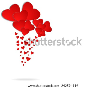 Valentines Day background with red hearts - stock vector