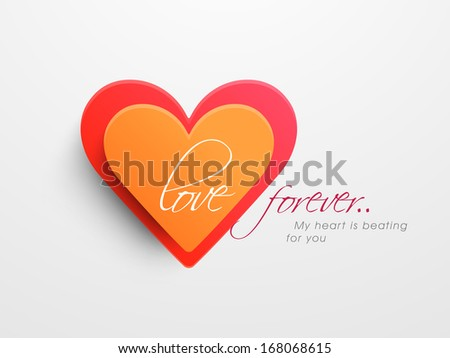 Valentines day background with sticky in heart shape on grey background.