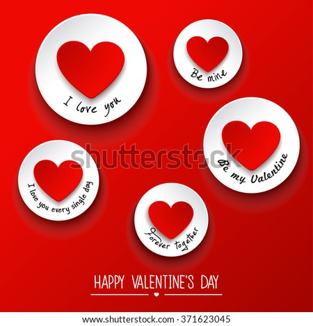 Valentines Day background with sticky . Vector illustration - stock vector