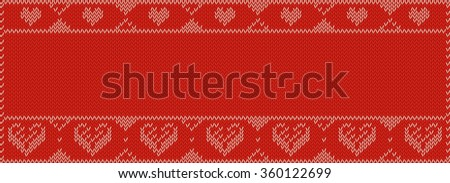 Valentines Day Banner, Knitting Pattern, Red with hearts and Copy Space. Useful for Banner size uses. - stock vector