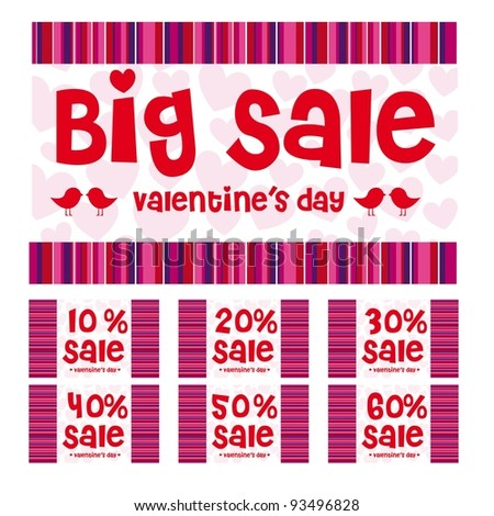 Valentines day big sale labels, red, pink and purple colors - stock vector