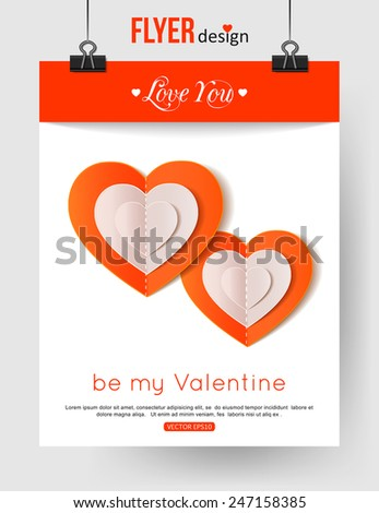 Valentines Day brochure template with paper hearts and place for text. Abstract typographical flyer. Vector illustration. - stock vector