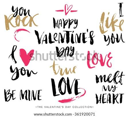 Valentines day calligraphic phrases. Hand drawn design elements. Handwritten modern lettering. - stock vector