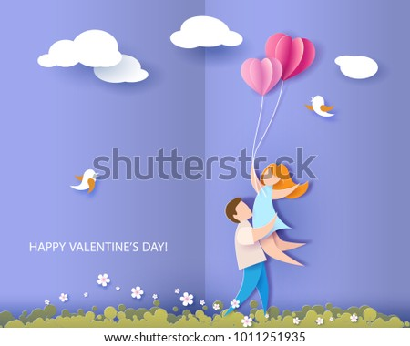 Valentines day card. Abstract background with couple in love, hearts balloons and blue sky. Vector illustration. Paper cut and craft style.