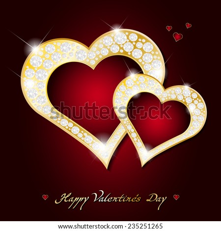Valentines Day card - abstract shiny golden hearts with diamonds - vector illustration - stock vector
