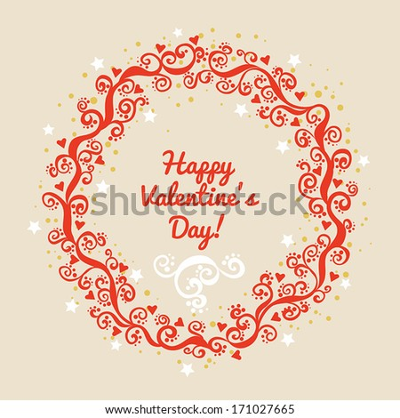 Valentines day card in ornamental circle. Vector illustration. - stock vector