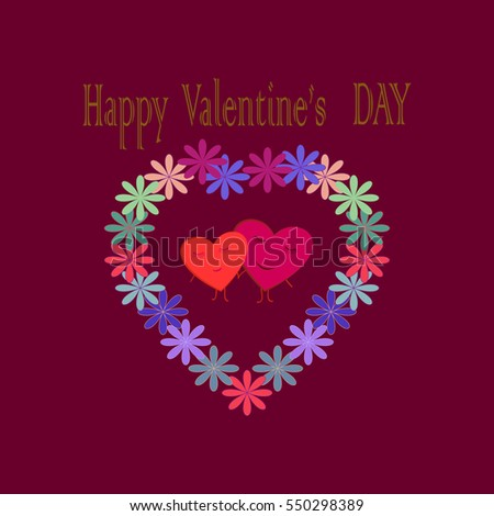 Valentines Day Card Romantic Flower Twig Illustration – Romantic Valentine Day Cards