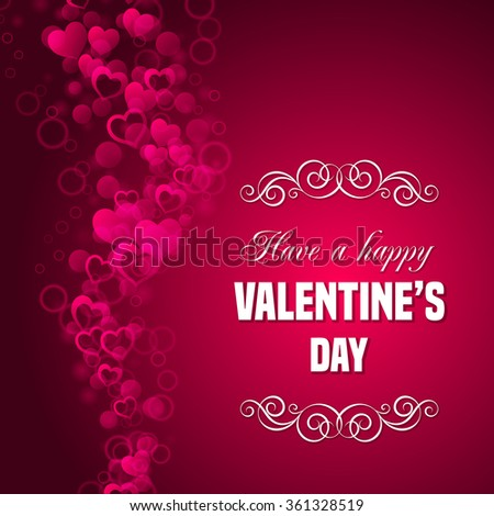 valentines day card template have a happy valentines day text message with hand drawn curly
