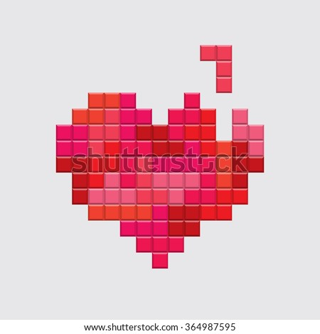 Valentines day card. Video game pixel red heart. Retro vintage design. Editable vector.  - stock vector