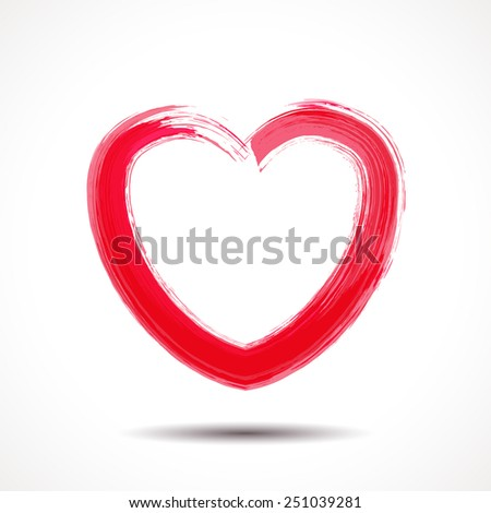 Valentines Day card with brush painted heart. - stock vector