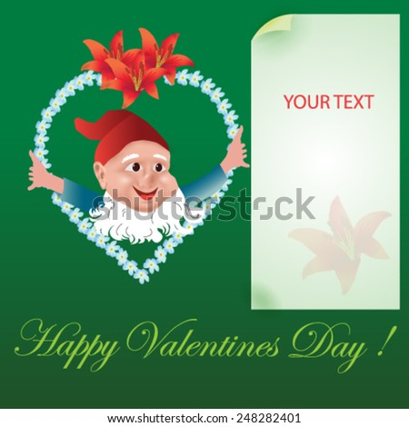 Valentines Day card with cute dwarf on green background - vector illustration. - stock vector