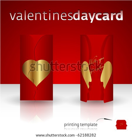 Valentines day card with cutout template ready to print - stock vector