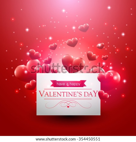 Valentines day card with floating hearts. - stock vector