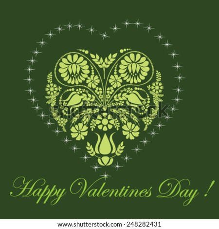 Valentines Day card with floral heart on green background - vector illustration. - stock vector