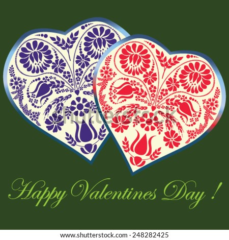 Valentines Day card with floral hearts on green background - vector illustration. - stock vector