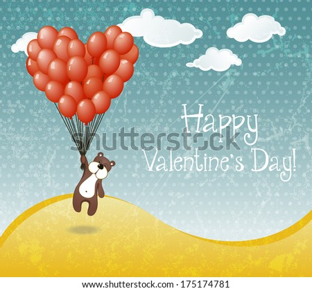 Valentines day card with flying teddy bear holding balloons. EPS 10 vector illustration. - stock vector