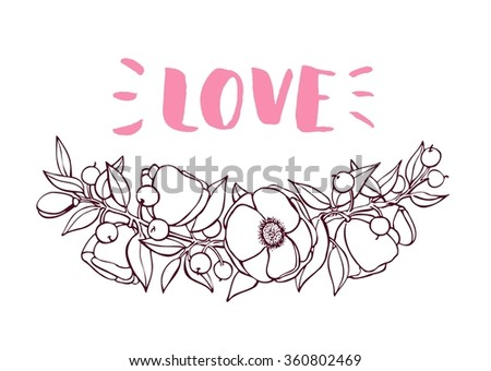 Valentines Day card with hand drawn botanical flower branch illustration. Artistic greeting card. Great for wedding invitation, birthday cards, postcards, banners, logo - stock vector