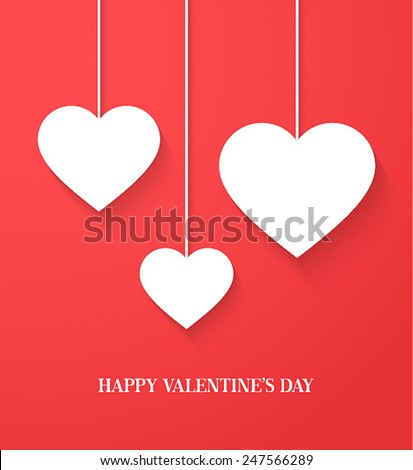 Valentines day card with hanging hearts. Vector illustration. - stock vector