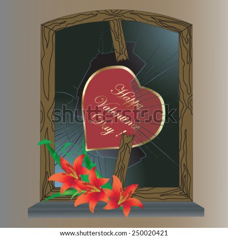 Valentines Day card with heart and broken window - vector illustration. - stock vector