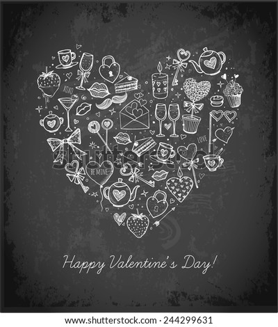 Valentines Day card with heart made from love symbols hand-drawn with white chalks on blackboard - stock vector
