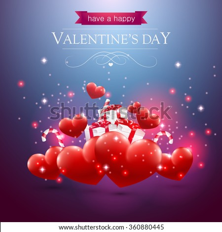 Valentines day card with hearts presents and sparkles on blue background. - stock vector