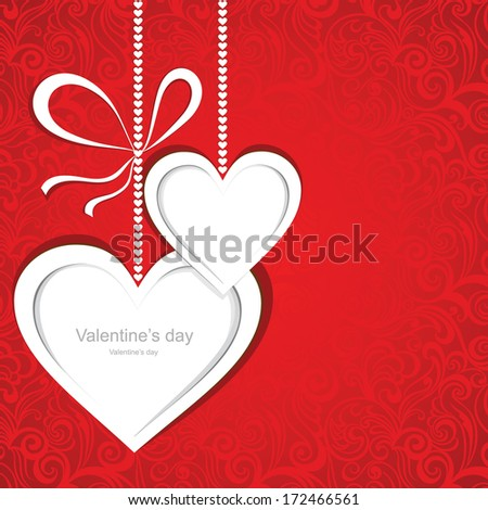 Valentines day card with hearts. Vector illustration. - stock vector