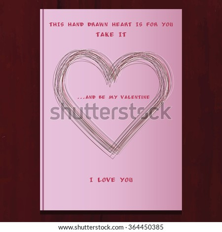 valentines day card with line heart decorated as pink book - stock vector
